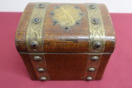 Late Victorian oak correspondence box, brass strap work & cartouche decorated with cabachon, with