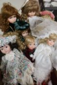Collection of bisque head fashion and character dolls including a bride (9)