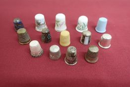 Collection of thimbles incl. five silver hallmarked, three bone china, etc (14)