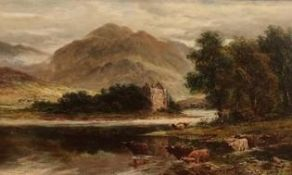 Scottish School (19th C): 'Eilaan Donan Loch Lomond', Highland Cattle with castle in a landscape,