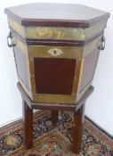 Geo. III and later brass bound mahogany hexagonal celarette, fitted interior with drain plug, with