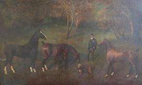 Herbert J. St. John Jones (1870-1939): 'Three Famous Yorkshire Show Hackneys', study of three horses