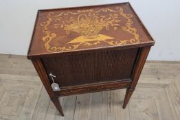 19th C Dutch marquetry side cabinet, gallery top decorated with a profuse flower basket above a