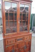 Late Victorian mahogany secretaire bookcase, moulded cornice above a pair of astragal moulded
