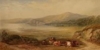 Cornelius Pearson (1805-1891) & Thomas Wainwright (1794-1883): Cattle resting in a mountainous