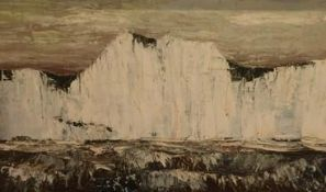 Martin Wells (1928-2009): White Cliffs of Dover, acrylic oil on board, 48cm x 83cm