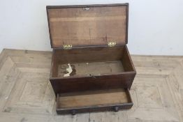 Small Geo. III planked oak mule chest, with hinged lid and the single drawer with turned wooden