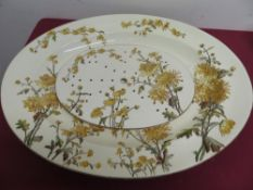 "George Jones (1874-1891) large oval meat plate entitled ""Chrysanthemums"" with associated drainer ("