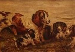 G.? Summerville (late 20th C): Cocker Spaniel with three puppies, oil on canvas, signed, 19cm x 27cm