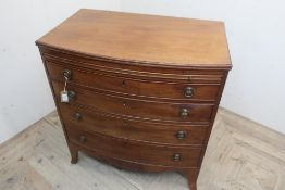Early 19th C mahogany bow front dressing chest, moulded top above brushing slide and four