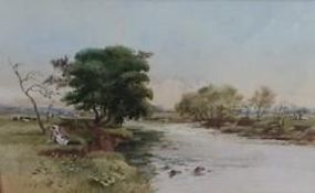 I.G. Sykes (20th C): Cattle watering and a resting Milkmaid, both in river landscapes, watercolour