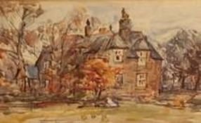 Rowland Henry Hill (Staithes Group 1873-1952): The Old Vicarage, Ugthorpe, watercolour, signed