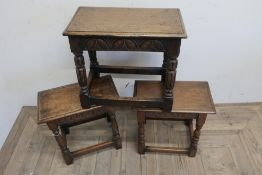 17th C style oak joint stool, moulded top and arcade carved frieze on reeded supports joined by
