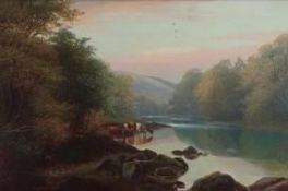 E.G. Bosomworth (19th C): 'On the Wharf, Bolton Woods', oil on canvas, signed, 29cm x 44cm