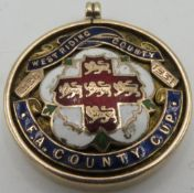 9ct gold hallmarked and enamelled West Riding County 1930-1931 F.A County Cup circular medallion, (