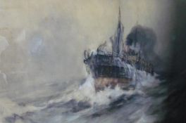 Frank Henry Mason (Staithes Group 1875-1965): Steam ship labouring in a stormy sea, watercolour,