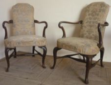 Pair of Queen Anne style open arm chairs with upholstered arched backs, bow front seats and