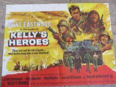 "Cinema foyer film poster ""Kelly's Heroes"", metro-Goldwyn-Mayer film staring Clint Eastwood,"