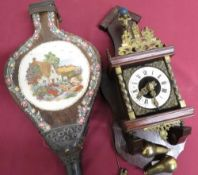 Pair of elm and leather bellows, painted with a cottage in a landscape, stamped with RD number (
