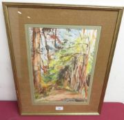"""Max West (born 1946): """"An Avenue Of Trees"""", watercolour, signed and indistinctly dated, Rowley"""