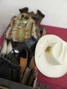 John Callo Stetson type hat, a pair of ladies vintage black boots, a hall brush set with mirror,
