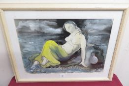 """Peter Nicholas (1934 - 2015): """"Island Girl"""" watercolour, signed and dated 1997 (37cm x 54cm)"""