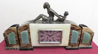 Art Deco coloured marble and alabaster three piece clock garniture with silvered Arabic dial, and
