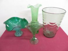 Caithness style green glass vase, green tint etched glass vase, a green glass vase with white