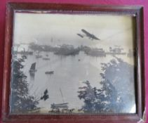 """Pre Great War photographic print of a Bleriot Monoplane over the """"South Bay Scarborough"""", titled"""