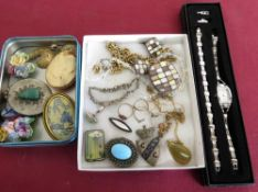 1960's Art pottery brooch (A/F), pair of matching earrings, costume and other jewellery including