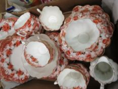 Late Victorian Paragon China service printed and enamelled red brick foliage on a white ground,