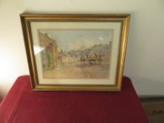 M.E.Warden (19th C): 'The Old Yarn Market Banster' watercolour, signed and dated 1907, titled verso,