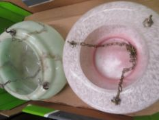 1930s pink tint and gilt decorated glass hanging lampshade, and green marbled glass hanging