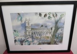 Ludwin Krzysztf, (Contemporary): Westminster Abbey, watercolour, signed, (34cm x 52cm)