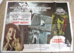 """Cinema foyer double bill film poster """"Incense for the Damned"""", """"Fear has 1000 eyes"""", cinema foyer"""
