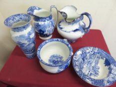 George Jones blue and white Abbey Pattern toilet jug and chamber pot, Masons blue & white vase,