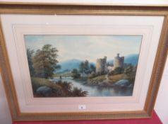 F.D. Harrison (19th C): Ruined Castle In A Lakeside Landscape, watercolour, signed, (30cm x 52cm)