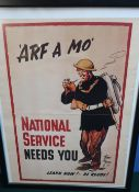 """Framed and mounted national service poster """"arf a mo"""" (43cm x 60cm exc. frame)"""