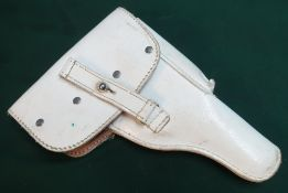 White finished luger type holster with impress marks 116348