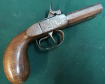 Belgian percussion cap double barrelled pocket pistol with 2.5 inch octagonal barrels engraved