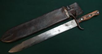 Military heavy bladed machete type Austrian side arm stamped with crest to the 15.5 inch blade