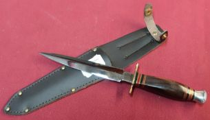 J.Nowill & Sons commando dagger with 5.5 inch double edged stiletto blade and brass cross piece,