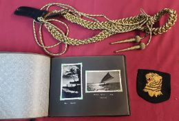 WWII period naval photograph album in Chinese embroidered album containing various black and white