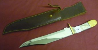 Large Harry Boden bowie knife with 9.5 inch blade, brass mounts and two piece samba horn grips