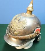 Circa WWI Prussian pikelhaube full bodied steel helmet with lobster style tail with central brass