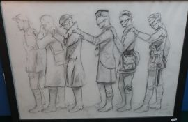 """Framed and mounted charcoal sketch """"Gas Attack"""" depicting soldiers from the front WWI, signed by the"""