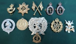 Small selection of various British military cap and lapel badges and a Great War Birmingham Peace