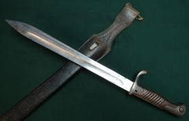 German Mauser, bayonet with 14.5 inch single fullered blade marked C.G.Haenel Suhl with two piece