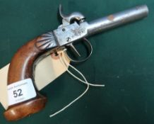 Belgian percussion cap pocket pistol with 3 inch barrel and carved walnut grip stamped B&C