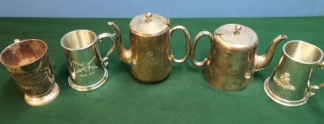 selection of silver plated regimental silverware including army tankards, Royal Artillery mess